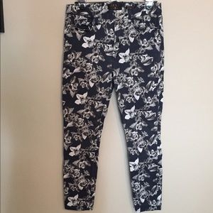 7 For All Mankind Orchid Print Skinny Jeans